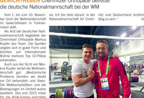 Dr. med. Markus Kupfer als Arzt der Deutschen Nationalmannschaft Gewichtheben zur WM in Turkmenistan